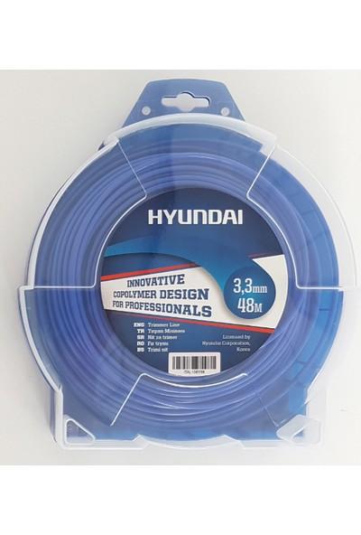 Hyundai 3.00Mm 57 Mt.Yuvarlak Mavi Tırpan Misinası Ot Çim Kesme İpi