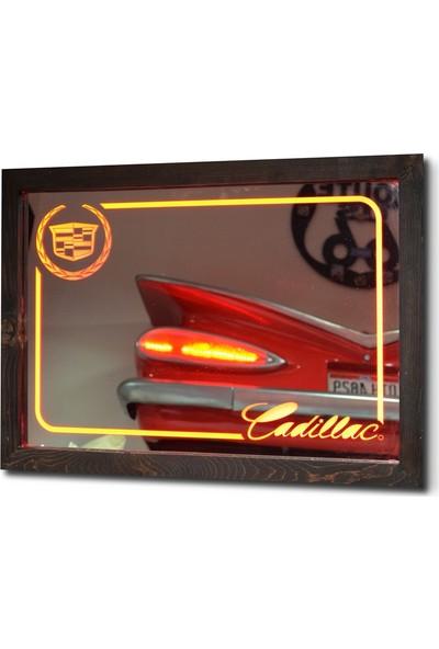 Oldieshead Cadillac Kırmızı Ledli Dekoratif Ayna