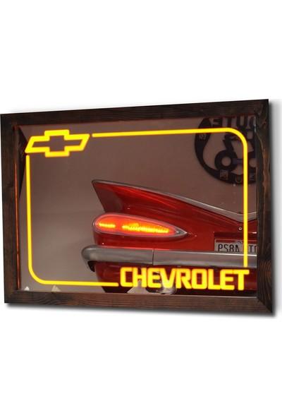 Oldieshead Chevrolet Sarı Ledli Dekoratif Ayna
