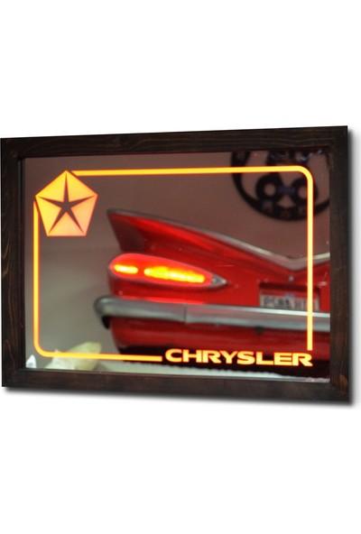 Oldieshead Chrysler Kırmızı Ledli Dekoratif Ayna