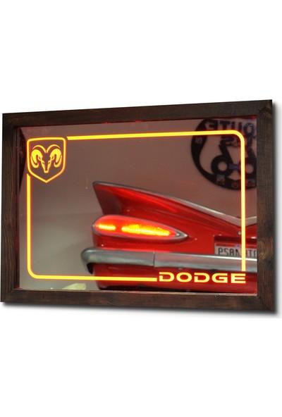 Oldieshead Dodge Kırmızı Ledli Dekoratif Ayna