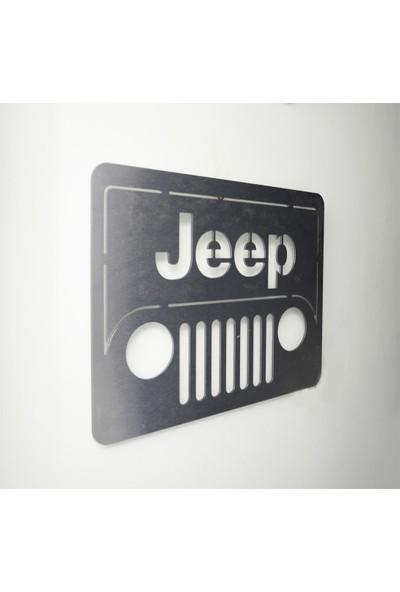 Oldieshead Jeep Logolu Satin Finish Alüminyum Kompozit Dekoratif Duvar Pano