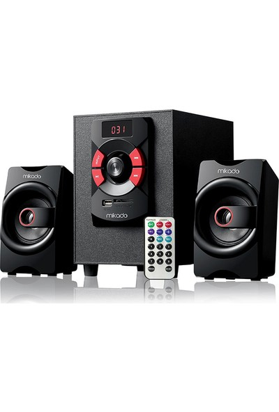 Mikado Md-216Bt 2+1 8W +3W*2 Siyah Usb+Sd+Fm+Bluetooth Destekli Speaker