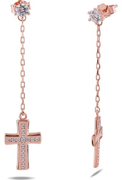 Kuyumcudükkanı 30096-R-W Zincirli Haç Sallantılı Küpe-Roz Altın Rengi