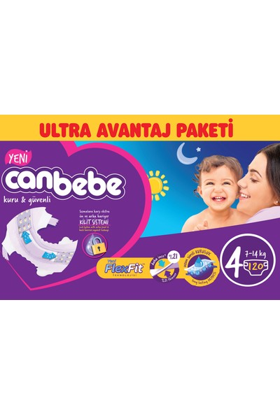 Canbebe Bebek Bezi Ultra Avantaj Paketi 4 Beden 120' li