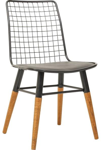 Dekorazzy Ahşap Ayaklı Tel Sandalye