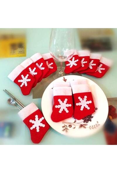 Kullan At Market Desenli Yılbaşı Çorabı Çatal Bıçak Kostümü 1 Adet