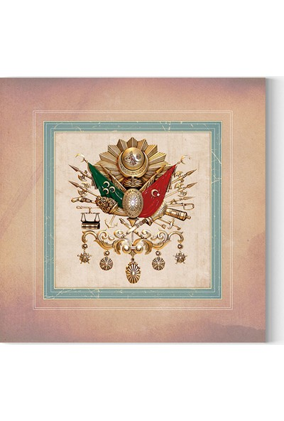 Desenlio Osmanlı Devlet Arması Kare Kanvas Tablo