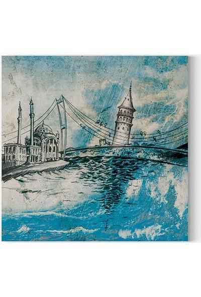 Desenlio Yağlı Boya Görünümlü İstanbul Kare Kanvas Tablo