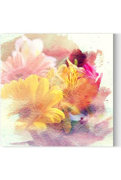 Desenlio Çiçek Kare Kanvas Tablo