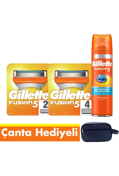 Gillette Fusion Tıraş Bıçağı Paketi (6'lı Bıçak + Jel+ Seyahat Çantası)