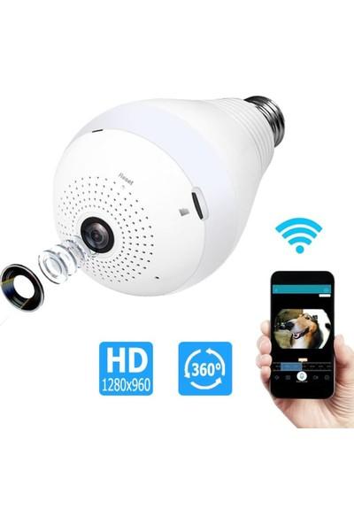 Blueway Wifi 360 Derece Ampül Kamera Panoramik Bakıcı Güvenlik Kamerası