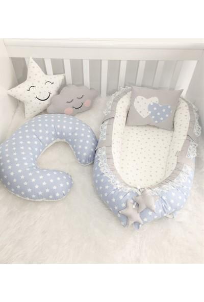 Modastra Mavi ve Gri Tasarım Emzirme Yastıklı Babynest Set