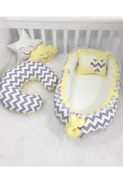 Modastra Babynest Gri Zigzaglı Sarı Tasarım Baby Nest Ve Emzirme Yastığı 4'lü Set