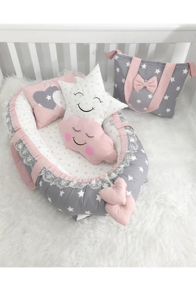 Modastra Babynest Gri Yıldız Desenli Ultra Lüx Baby Nest Ve Çanta Set