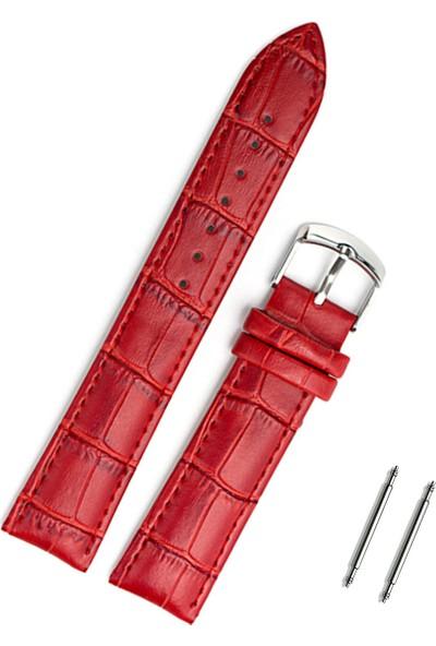 Kırmızı Deri Kol Saati Kordonu 18Mm Deri Kayış