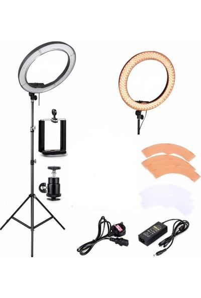 Deyatech Ring Light Led 5500Kw 18İnch Makyaj Çekimleri Makeup Çekimleri Sac Çekimler Youtuber Kit