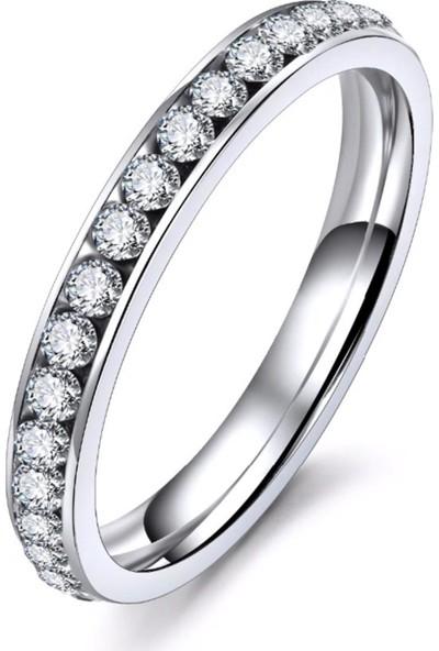 VipBT Gümüş Renk Kristal Titanyum Çelik Yüzük