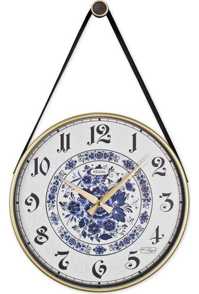 Regal 0639 W5 Retro Kayışlı Çiçekli Büyük Boy Duvar Saati