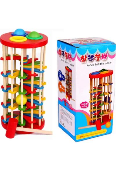 Okcu Hediyelik Ahşap Çekiçli Çak Çak Oyunu - Renkli Merdivenli Eğitici Ahşap Oyuncaklar