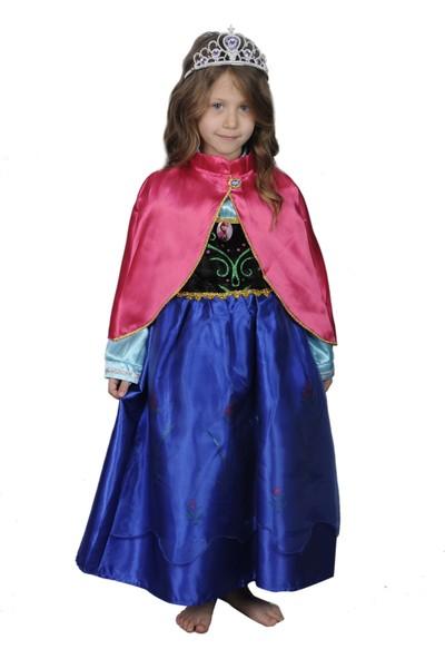 Butikhappykids Kız Çocuk Prenses Anna Kostümü Pelerinli Ve Taç