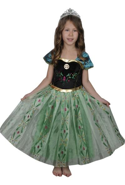 Butikhappykids Kız Çocuk Prenses Anna Kostümü Pileli Etekli Ve Taç