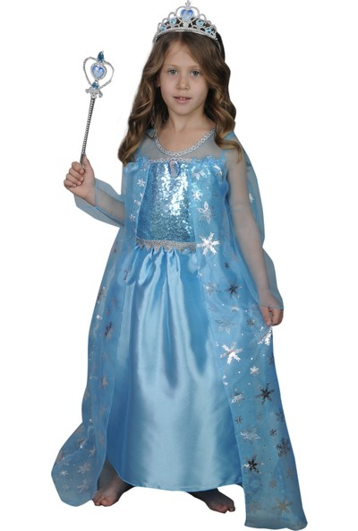 Butikhappykids Kız Çocuk Prenses Elsa Kostümü Mavi Tarlatanlı Taç Asa Ve Rozet