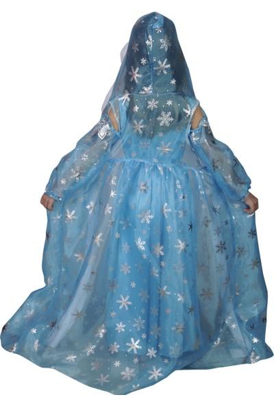 Butikhappykids Kız Çocuk Prenses Elsa Mavi Kapşonlu Kürklü Pelerinli Kostüm Pelerin Ve Elbise Ve 2 Adet Tülden İşlemeli Eldiven