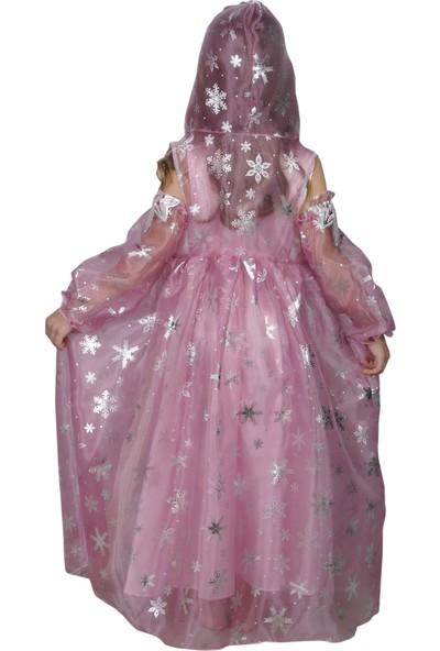 Butikhappykids Kız Çocuk Prenses Elsa Pembe Kapşonlu Kürklü Pelerinli Kostüm Pelerin Ve Elbise Ve 2 Adet Tülden İşlemeli Eldiven