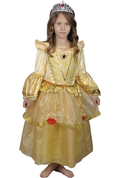 Butikhappykids Kız Çocuk Prenses Bella Kostümü Ve Taç