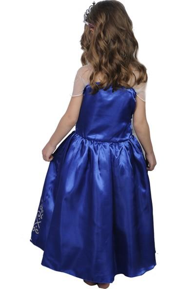 Butikhappykids Kız Çocuk Prenses Aurora Mavi Askılı Kostüm Ve Taç