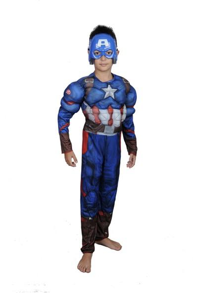 Butikhappykids Erkek Çocuk Captain America Kostümü Maskeli Tulum Ve Maske