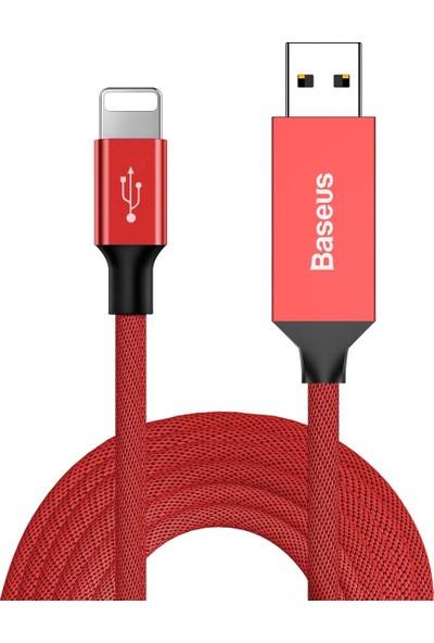 Baseus Artistic Striped Lightning Şarj Ve Data Kablosu Kırmızı