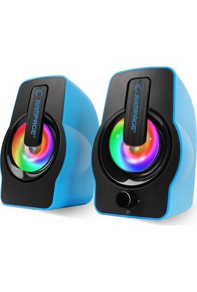 Rampage Gaming USB 2.0 6 Watt 50Hz-20Khz Mavi 5V USB Oyuncu 7 Led Speaker