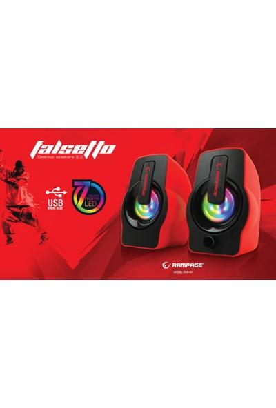 Rampage Gaming USB 2.0 6 Watt 50Hz-20Khz Yeşil 5V USB Oyuncu 7 Led Speaker