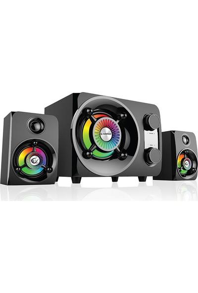 Rampage 2+1 25W Bluetooth +USB-Sd-Fm Radyolu Led Işıklı Gaming Ses Sistemi (Spesiyal Aydınlatma )