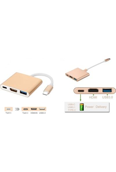 Tkz USB 3.1 Type-C To HDMI USB 3.0 Type-C To HDMI Çevirici Adaptör Kablo