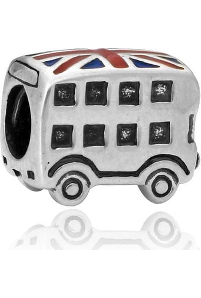 Zarbazen Gümüş Kaplama London Bus Bileklik Boncuğu