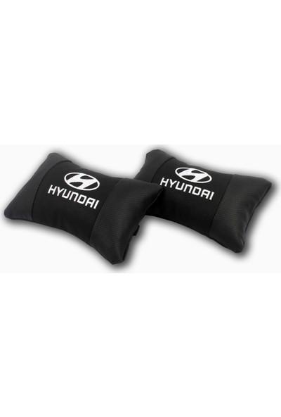 Fox Hyundai Araca Özel Nakışlı Oto Deri Boyun Yastığı