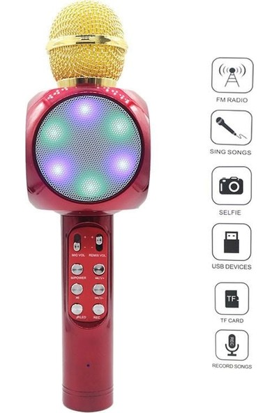 Wster Ws-1816 Karaoke Mikrofon Bluetooth Hoparlör Led Işıklı Wireless Microphone Hifi Speaker