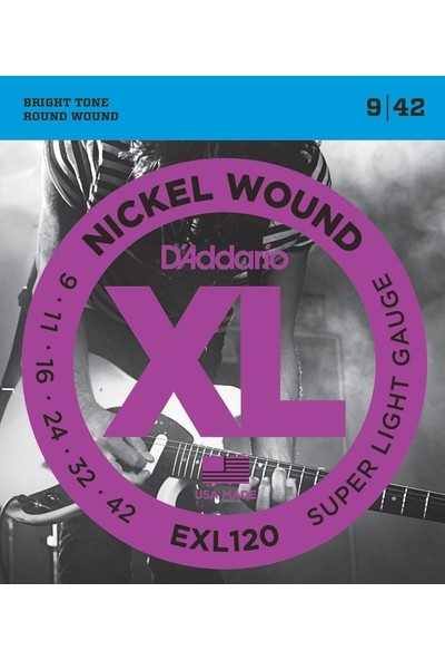 Daddario Exl120 Nickel Wound, Super Light, 9-42 009-042 Takım Tel Elektro Gitar Teli