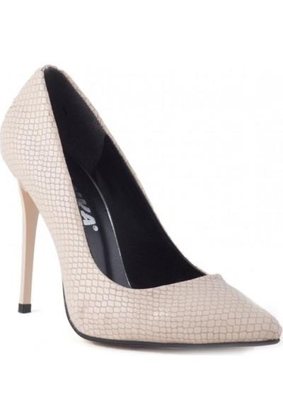Pudrastil Stylish Krem Cilt Desenli Kadın Stiletto Ayakkabı