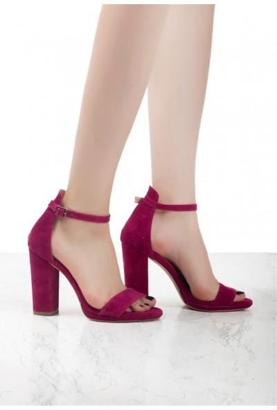 Pudrastil Severa Puşya Süet Bant Topuklu Kadın Ayakkabı