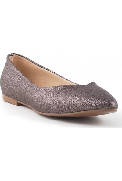 Pudrastil Gema Metalik Cilt Kadın Babet Ayakkabı