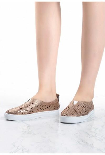 Pudrastil Fanny Bakır Cilt Kadın Babet Ayakkabı