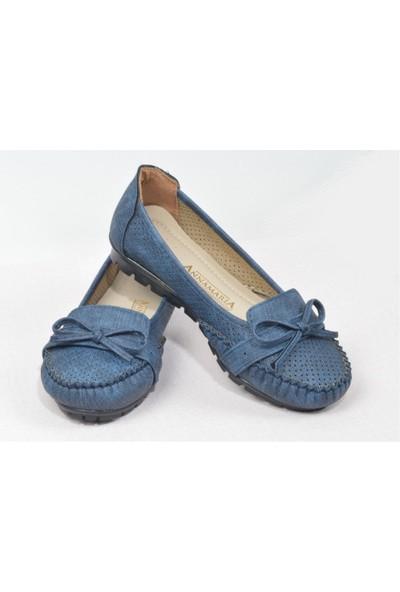 Pudrastil Koyu Mavi Kadın Babet Ayakkabı