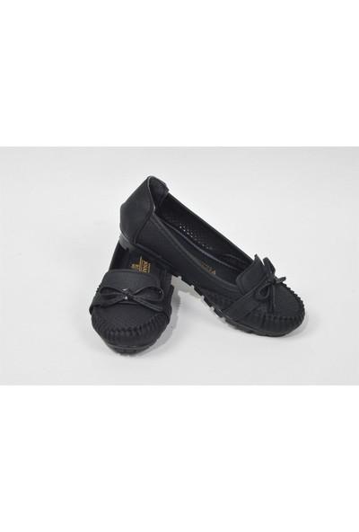 Pudrastil Siyah Kadın Babet Ayakkabı
