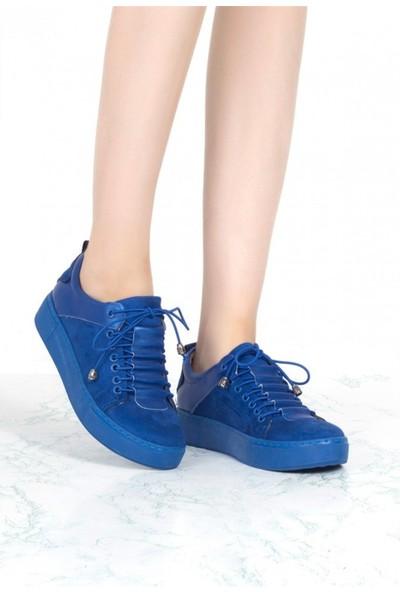 Pudrastil Elenore Mavi Süet Spor Ayakkabı