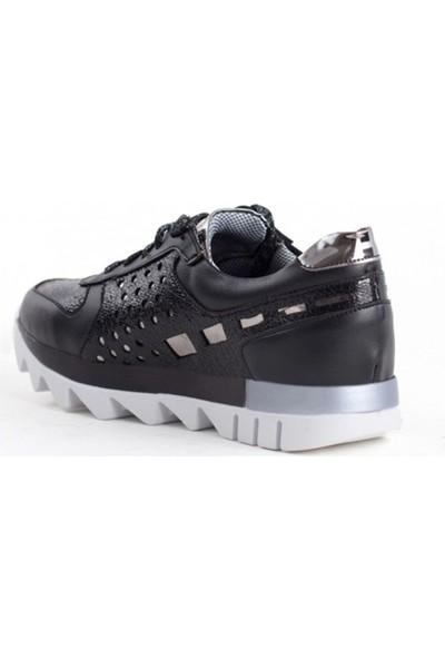 Pudrastil Sabrina Siyah Simli Bağcıklı Kadın Spor Ayakkabı