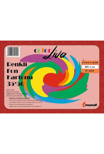 Color Liva Mondi Fon Kartonu 10 Renk Karışık 35X50 50'Li Paket